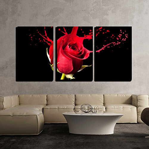 Red Rose Framed (wall26 - 3 Piece Canvas Wall Art - Red Rose with Red Splashes on Black Background - Modern Home Decor Stretched and Framed Ready to Hang - 16