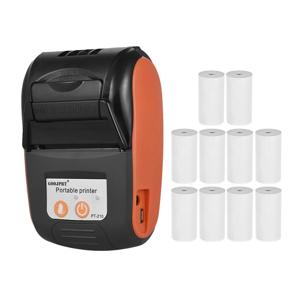 Aibecy Portable Thermal Printer Handheld 58mm Receipt Printer for Retail Stores Restaurants Factories Logistics 10 Paper Rolls Orange, with 10 Paper Rolls
