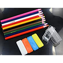wellie-store.10 Assorted Color Peel-Off China Markers,GREASE PENCIL And 4 Mini Tailor's Chalk White/Blue/Orange/Yellow Kit For Sewing DIY