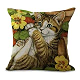 naughty bear 2 - YJBear Naughty Playing Cat Yellow Flower Linen Decorative Throw Cushion Cover Office Chair Seat Back Cushion Decorative Pillow Case 18