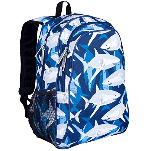 Wildkin 15 Inch Backpack, Extra Durable Backpack with Padded Straps and Interior Moisture-Resistant Lining, Perfect for School or Travel Sharks