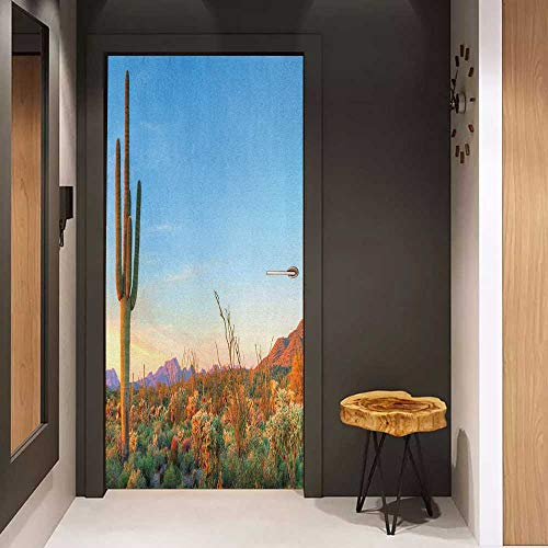 Door Sticker Saguaro Sun Goes Down in Desert Prickly Pear Cactus Southwest Texas National Park Glass Film for Home Office W30 x H80 Orange Blue Green ()