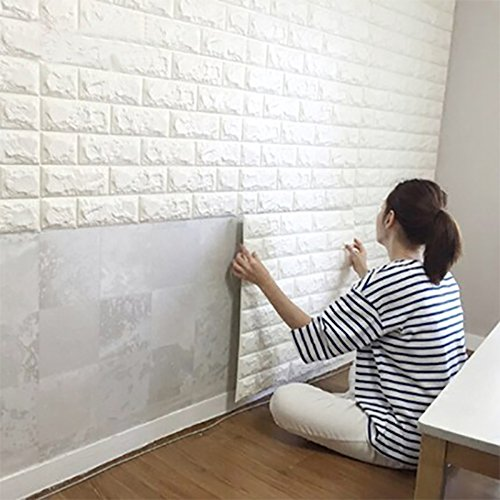 Art3d 59 Sq.Ft Peel and Stick 3D Wall Panels for Living Room / Bedroom Decoration, White Brick Wallpaper