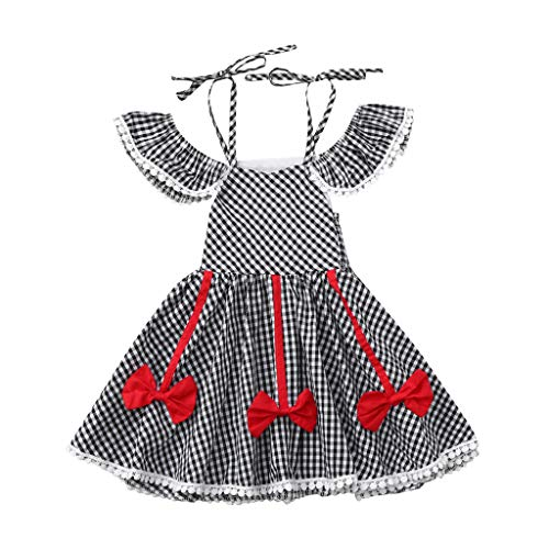 Sunyastor Baby Toddler Girls Ruffles Dress Off Shoulder Plaid Print Dress Ruffles Bow Dresses Clothes Black ()