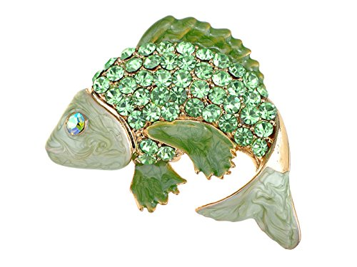 Alilang Koi Gold Fish Carp Golden Tone Enamel Emerald Green Crystal Rhinestone Animal Pin Brooch