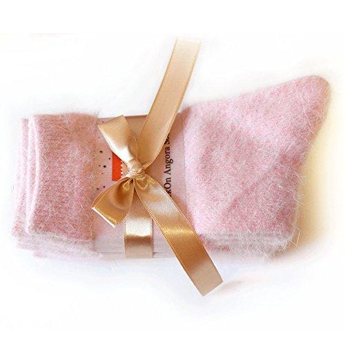Walkon Women's 3 Pairs Angora Pure Socks (5 Colors) (A. Indi_pink (3pairs))