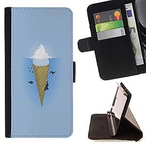 - Ice Cream Summer - - Prima caja de la PU billetera de cuero con ranuras para tarjetas, efectivo Compartimiento desmontabl FOR Samsung Galaxy S6 Lady Case
