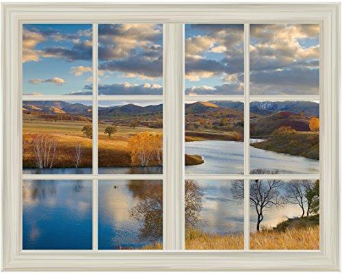 Open Field Landscape in Autumn Window View Mural Wall Sticker