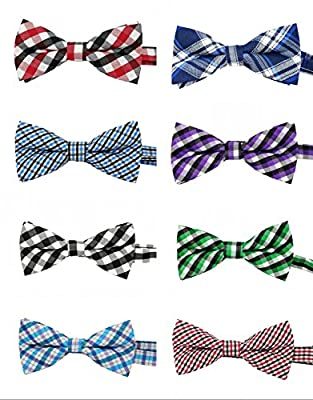 PET SHOW Plaid Dog Bow Ties Adjustable Bowties for Small Dogs Puppy Cats Party Pet Collar Neckties Customes Grooming Accessories Pack of 8 by Bysitshow