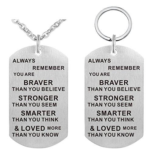 Pendant Necklace & Keychain Set - Dog Tag Military Stainless Steel Inspirational Jewelry Gifts Family Friend Gift Unisex
