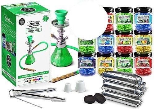 U-Pick-Flavors-and-Charcoal-Black-Beamer-Model-7-Hookah-Set-5-Random-Flavors-50g-Beamer-Ice-Drops-Gel-Shisha-5-Rolls-Charcoal-10-Coalsroll-50-Tablets-Total-Limited-Edition-Beamer-Sticker
