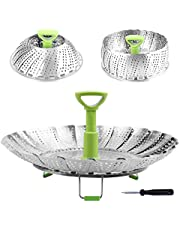 Steamer Basket Stainless Steel Vegetable Steamer Basket Folding Steamer Insert for Veggie Fish Seafood Cooking, Expandable to Fit Various Size Pot