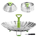 Steamer Basket Stainless Steel Vegetable Steamer Basket Folding Steamer Insert for Veggie Fish Seafood Cooking, Expandable to Fit Various Size Pot (5.1