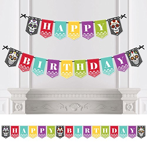 Day of The Dead - Birthday Party Bunting Banner - Sugar Skull Birthday Party Decorations - Happy Birthday ()