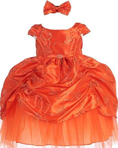 AkiDress Short Sleeve Satin Sequin Detailing Cinderella Flower Baby Girl Dress Orange S - XL