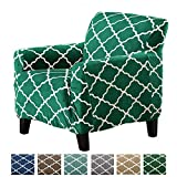Great Bay Home Modern Velvet Plush Strapless Slipcover. Form Fit Stretch, Stylish Furniture Shield/Protector. Magnolia Collection Strapless Slipcover Brand. (Chair, Emerald Green)