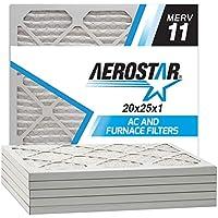 Aerostar 20x25x1 MERV 11  Pleated Air Filter, MERV 11, 20x25x1, Pack of 6, Made in the USA
