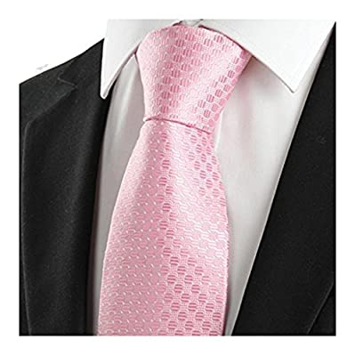 MENDENG Pink Polka Dot Striped Blue Plaid Necktie Woven Mens Formal Business Tie