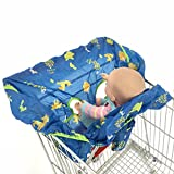 Baby Seat Covers Foldable Shopping Cart Cushion Pad Protecting Cover Seat Safety Belt Infant HighChair Mat (Zoo, Medium Size fits almost shopping carts)