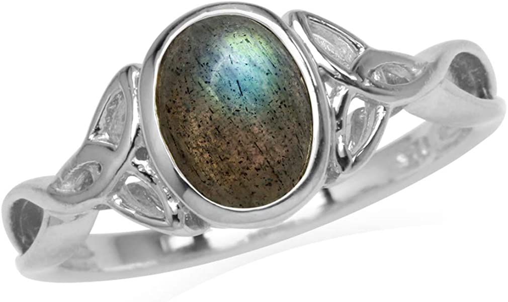 8x6MM Oval Shape Labradorite White Gold Plated 925 Sterling Silver Triquetra Celtic Knot Ring