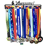 Awesome Medal Hanger Holder Display Rack for 60 Medals Application for All Sports Black Steel Medal Hanger Holder,Race Medal Display Holder,Bonus 1PC Zippered Wristband Pocket Included