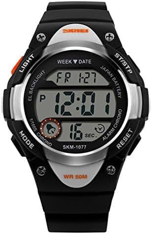Novelty Digital Kids Watch Outdoor Sports Children's Waterproof Wrist Dress Watch With LED Digital Alarm Stopwatch Lightweight Silicone Black