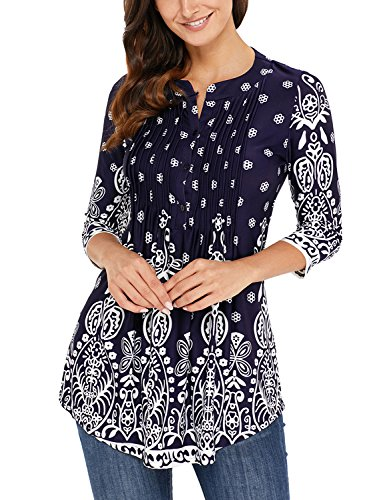 Jeans Ruched (Lovezesent Women Vintage Floral Print V Neck Tunic Tops for Jeans Ruched Detail Formal Ladies Office Blouses and Shirts for Work Navy Medium)