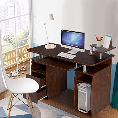 Pull Out Laptop Shelf - Tangkula Computer Desk, Wood Home Office Desk, Laptop PC Computer Work Station, with Storage Drawer, Pull-Out Keyboard Tray & Monitor and Printer Shelf (Walnut)
