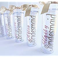 Bridesmaid tumbler gift bridal party acrylic cups with lids