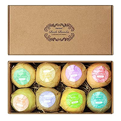 Innoo Tech 8 Bath Bombs Gift Set, Lush Bath Bombs Kit, Spa & Beauty Organic Natural Essential Oil Fizzies, Best Gift Idea, for Spa, Relaxation, Skin Care, Stress Relief