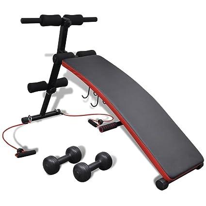 vidaXL Banco abdominales multi-funcional ajustable con pesas 3 kg