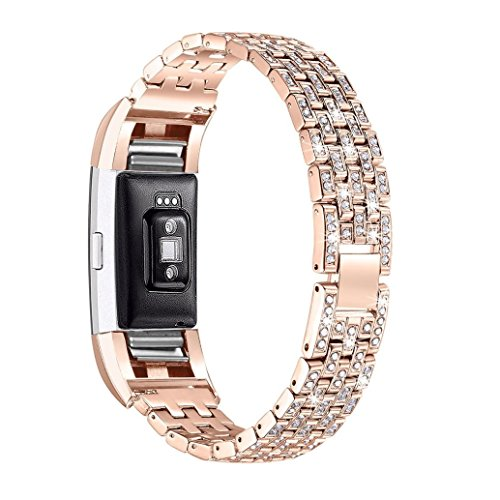 YJYdada Luxury Crystal Stainless Steel Metal Wristband Strap Band for Fitbit Charge 2 (Rose Gold)