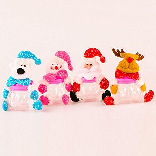 doolland Navidad Candy tarro para azúcar caja de plástico de peluche Hucha Moneda recipiente decorativo azúcar tarros para vacaciones: Amazon.es: Hogar