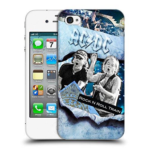 Officiel AC/DC ACDC Rock 'n' Roll Collage Étui Coque D'Arrière Rigide Pour Apple iPhone 4 / 4S