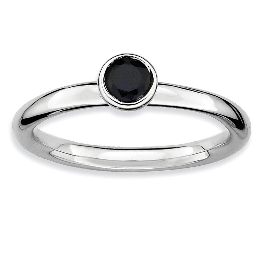 Top 10 Jewelry Gift Sterling Silver Stackable Expressions Low 4mm Round Cr. Sapphire Ring