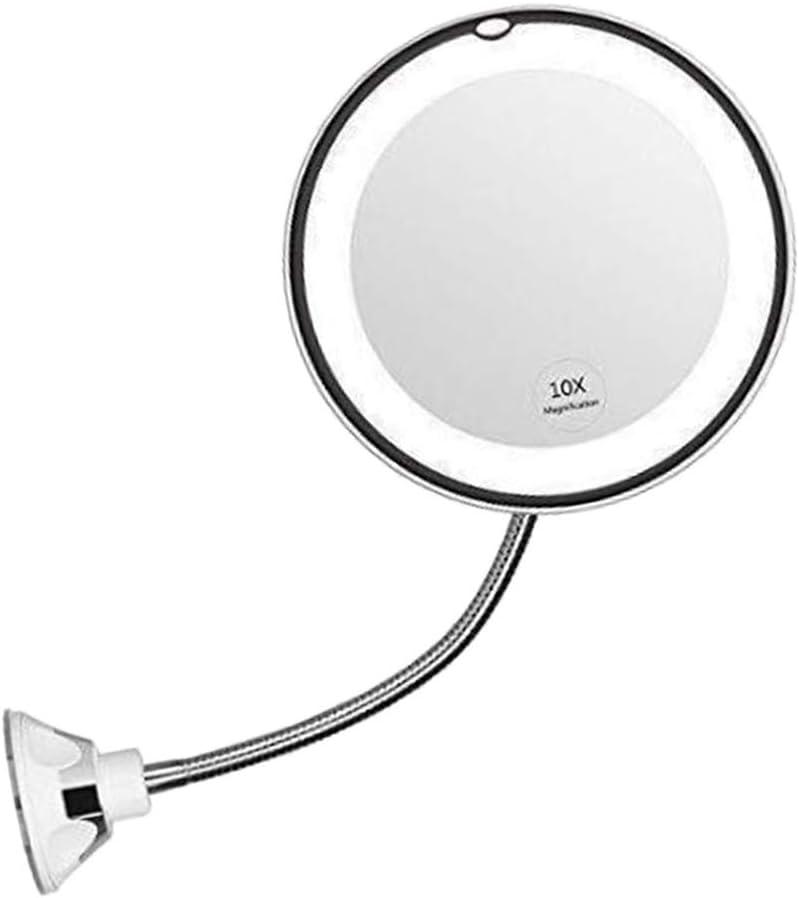 Toygogo Beleuchtete Kosmetikspiegel mit 10-Fach Vergr/ö/ßerung 360-Grad-Drehung Rasierspiegel Badezimmerspiegel mit Schwanenhals 17cm