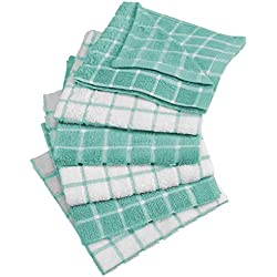 "DII 100% Cotton, Machine Washable, Ultra Absorbant, Basic Everyday 12 x 12"" Terry Kitchen Dish Cloths, Windowpane Design, Set of 6- Aqua"