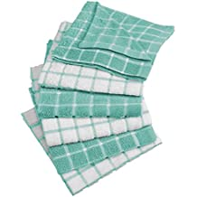"DII Cotton Terry Windowpane Dish Cloths, 12 x 12"" Set of 6, Machine Washable and Ultra Absorbent Kitchen Bar Towels-Aqua"