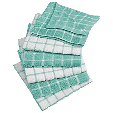 DII 100% Cotton, Machine Washable, Basic Everyday Kitchen Dish Cloth, Windowpane Design, 12 x 12  Set of 6- Aqua