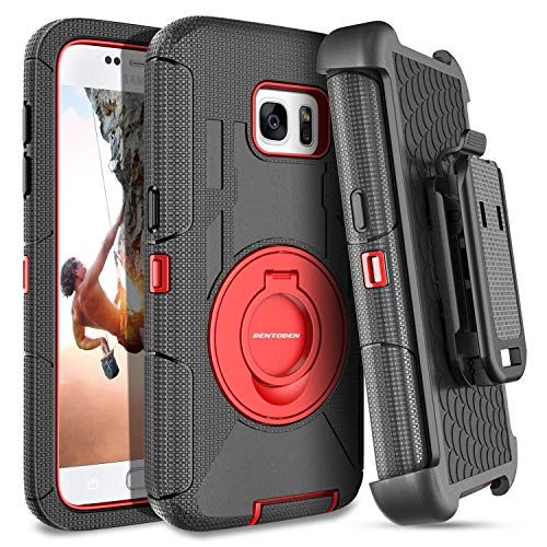 Rugged Silicone - S7 Case,Galaxy S7 Case,BENTOBEN Ring Kickstand Belt Clip Holster,Shockproof Heavy Duty Hybrid Hard PC Soft Silicone Full Body Rugged Protective Case for Samsung Galaxy S7 for Men/Boys, Black/Red