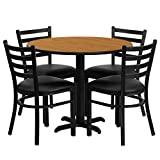Dyersburg 5pcs Table Set Round 36'' Natural Laminate X-Base, Black Chair
