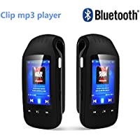 DeeFec Portable Bluetooth MP3 player 8GB 1.8  LCD Screen Clip Sport Stereo Music Player with FM Radio Voice Recording Pedometer Independent Volume Control and Support Micro SD Card (Black)