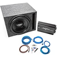 Skar Audio Single 12 1200 Watt Complete Subwoofer Bass Package - Includes Subwoofers in Ported Box with Amplifier