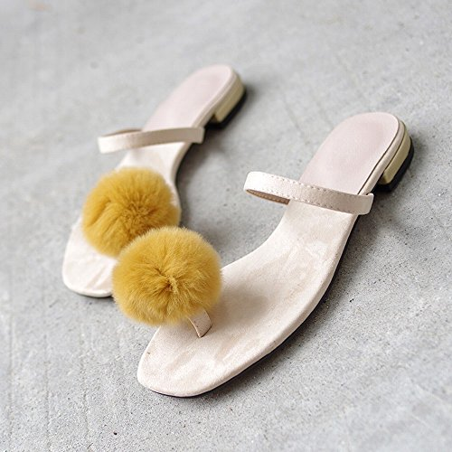 DIDIDD de de de Albaricoque Femenino Perezoso Sandalias Dedo Pie 37 del Vestir Mujer Salvaje Moda Zapatillas pqrwgp
