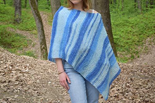 8920e1f508088b Blue boho poncho Hippie chic knit beach cover up Summer wear Women Knitwear  Spring fashion Cape