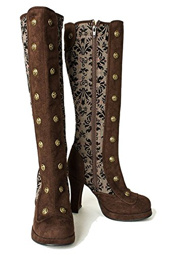 Vintage Style Western Cosplay Halloween Bridal Wedding Womens Boots 8 by SharpSpirit