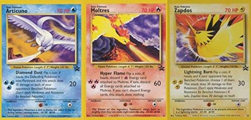 Pokemon Promo Single Card Set of All 3 Rare Legendary Birds Moltres, Articuno & Zapdos
