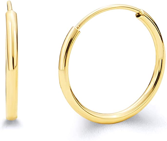 2ee073919fdbd 14k Yellow Gold 1.5mm Thickness Endless Hoop Earrings - 8 Different Size  Available