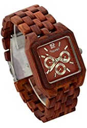 Topwell Reddish Square Multi-Eyed Hypoallergenic Wood Watches Red Wooden Watches For Christmas gifts