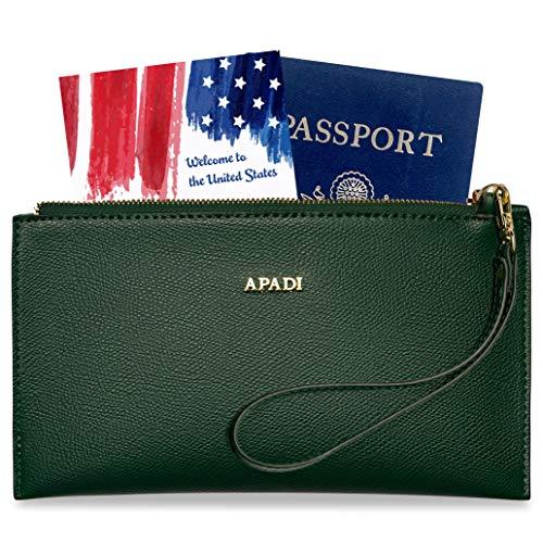Wristlet Travel Wallet for Women RFID Passport Holder Document Organizer Zipper (Olive Green) (Ladies Handbags Xoxo)